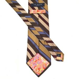 Ted Baker London Neck Tie Striped Thick Woven Silk